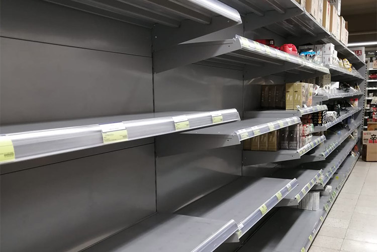 Food Shortage with empty shelves in Hong Kong during the Covid-19